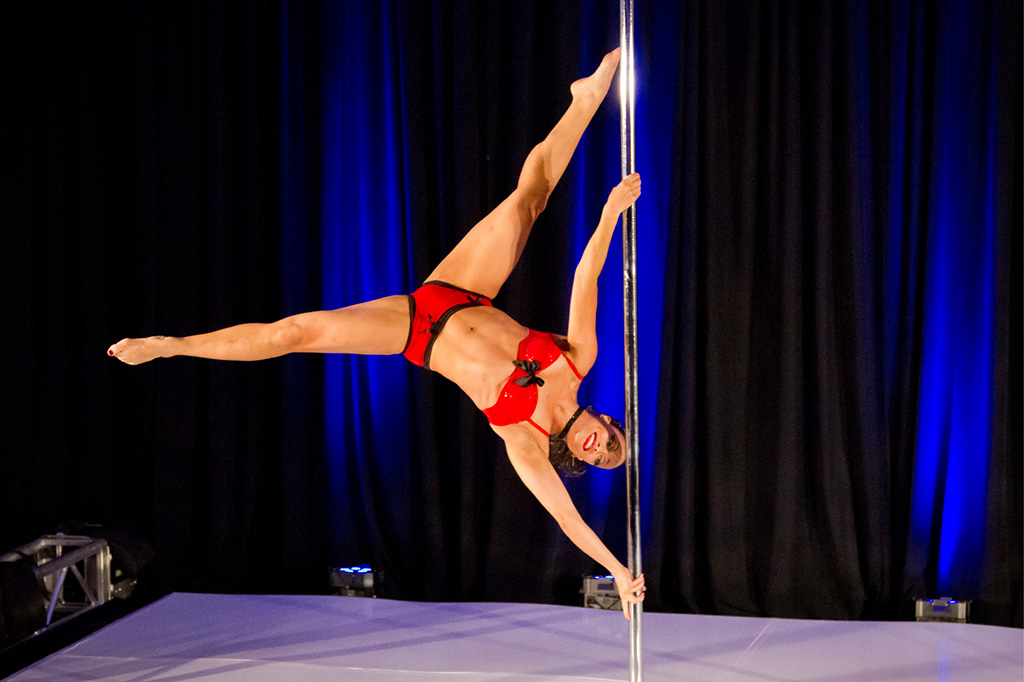 Michelle Abbruzzese performing at a pole dance competition
