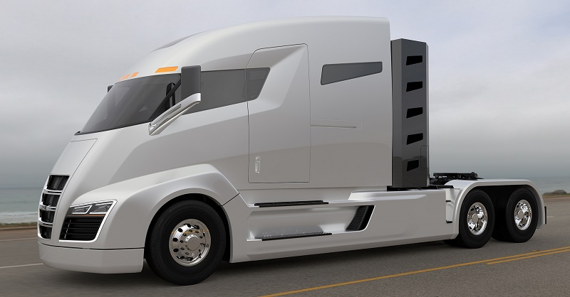 Side view of Nikola One semi-truck.