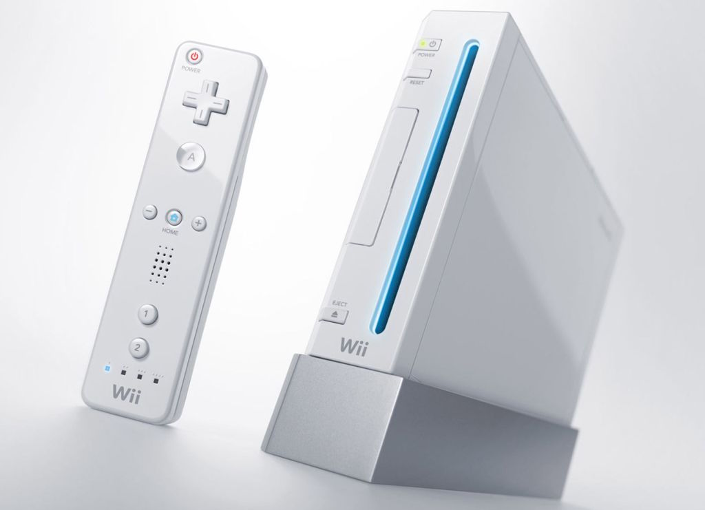The original Wii console and controller, made by Nintendo.