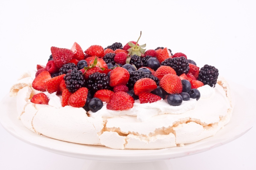pavlova cake on a white background