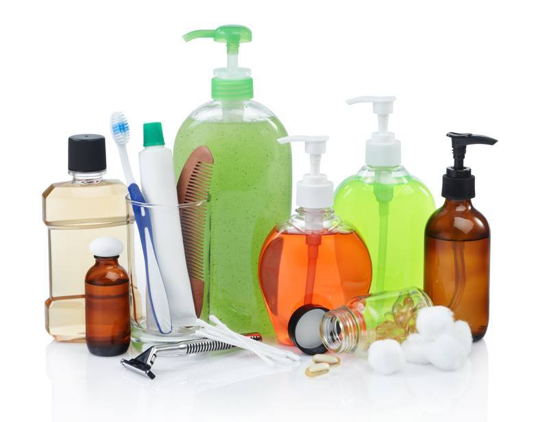 hygiene products in bottles