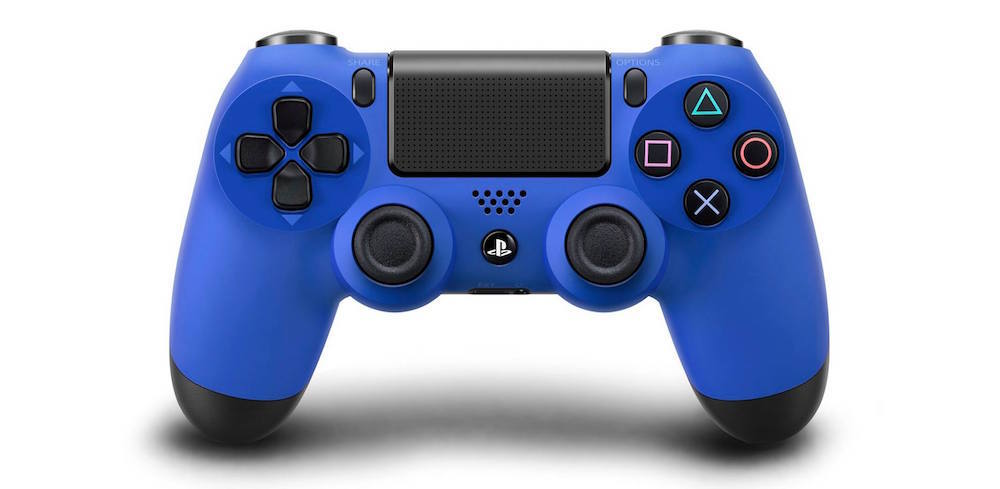 A blue PlayStation 4 controller.