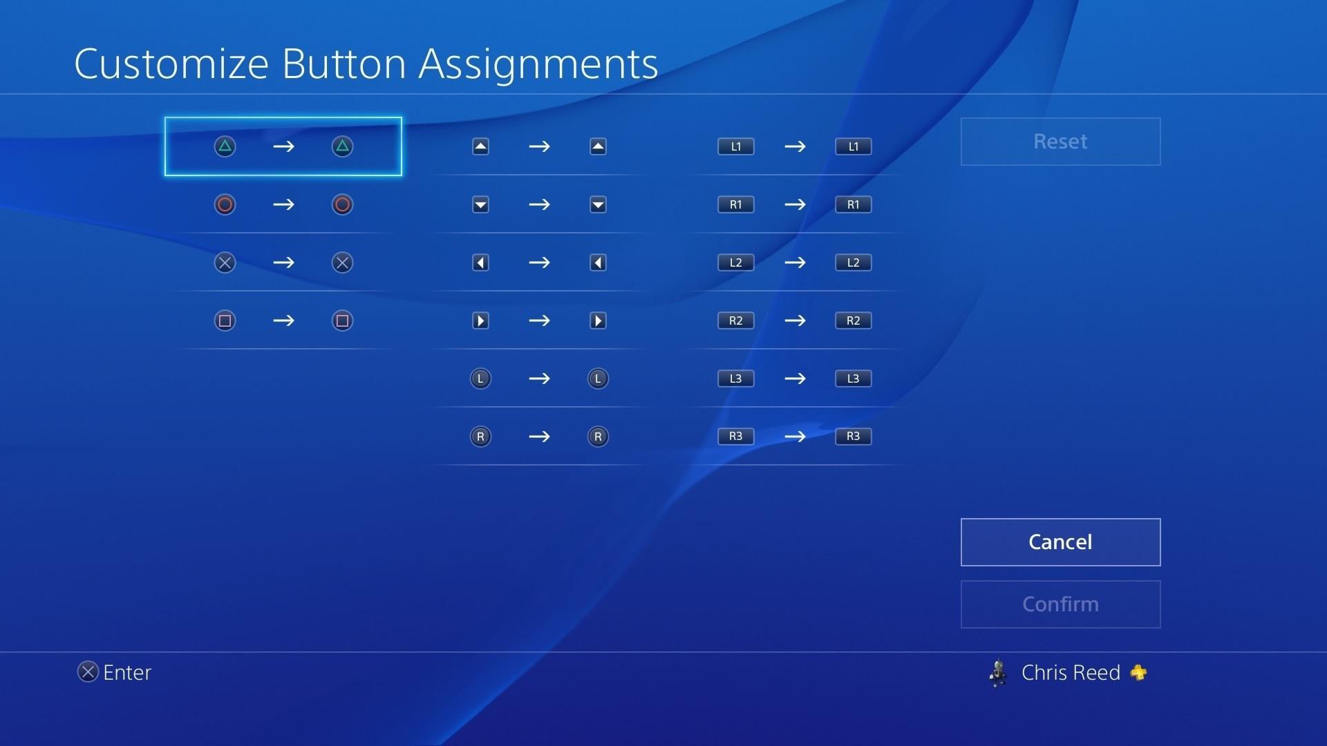 PS4 customize buttons screen.