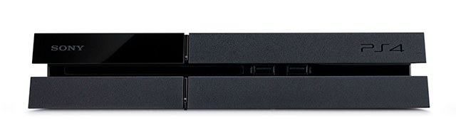 A PlayStation 4 viewed from the front.