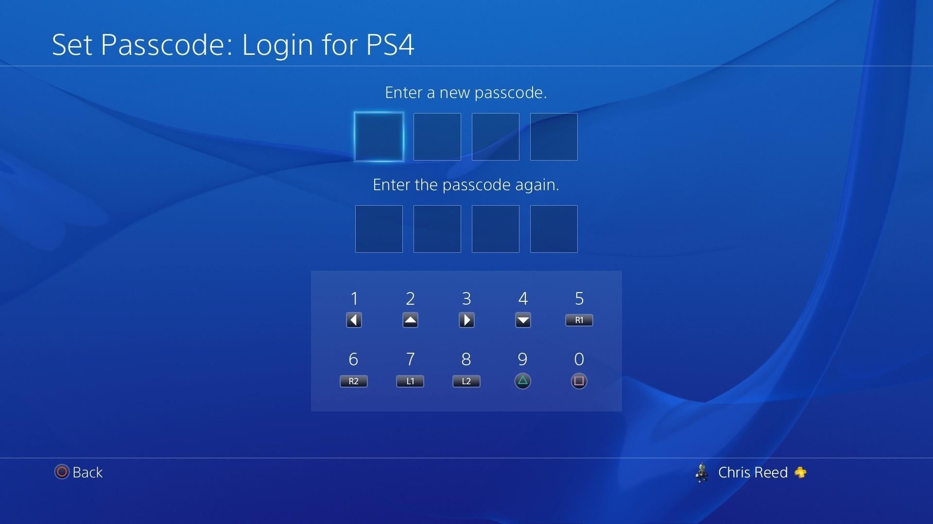 PS4 change passcode screen.