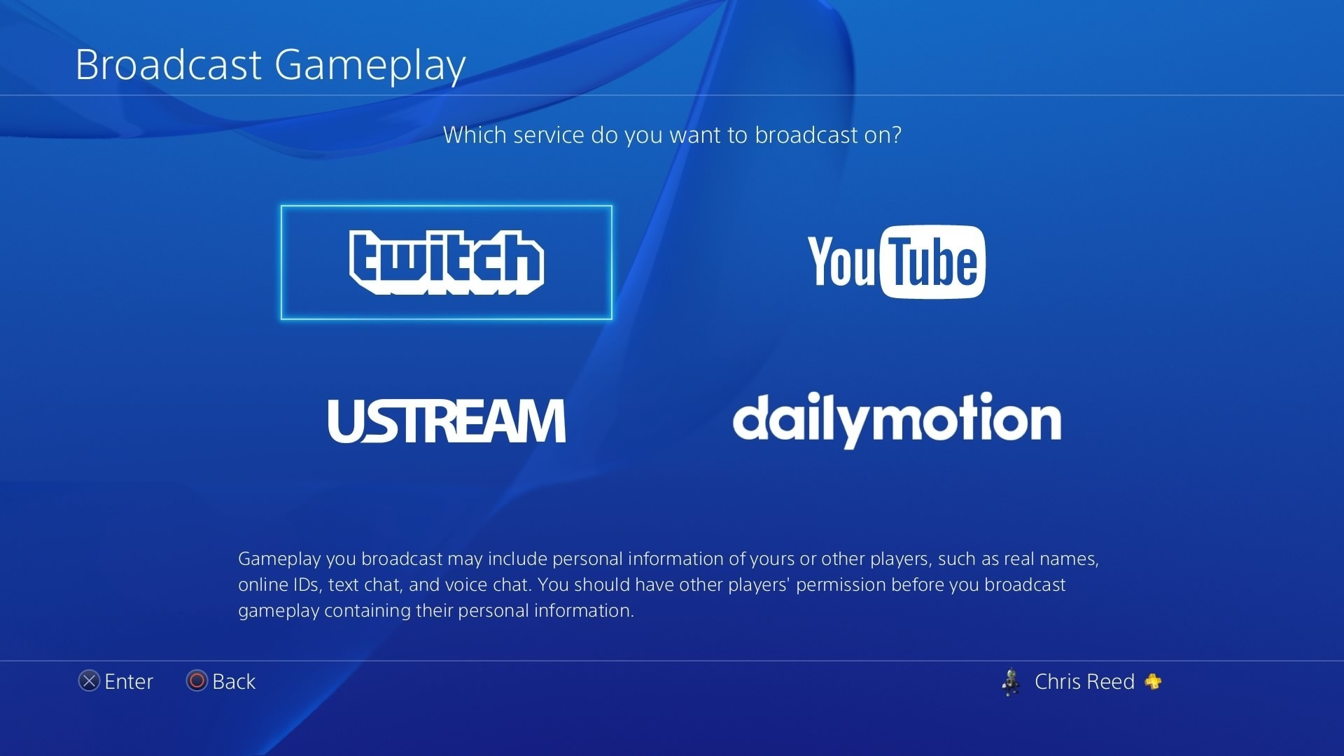 PS4 broadcast screen.