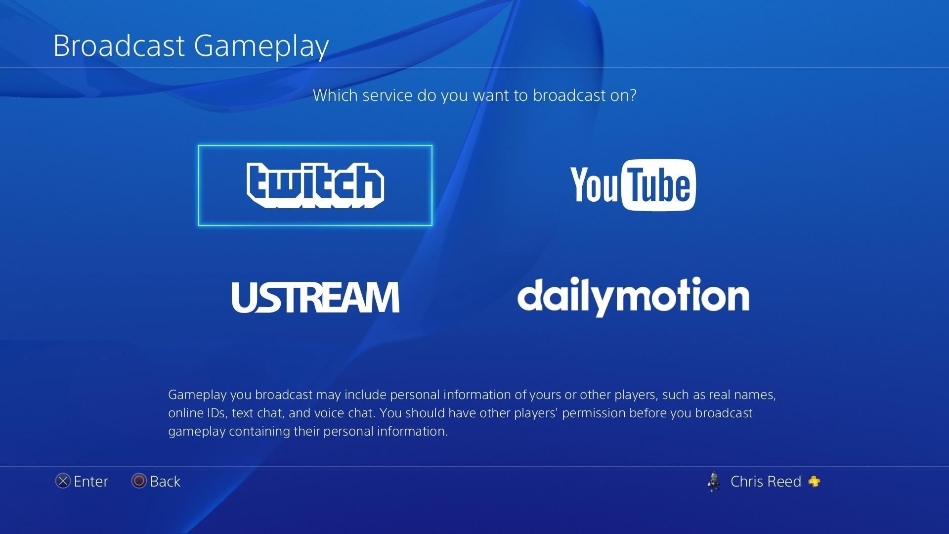 PS4 broadcast screen.