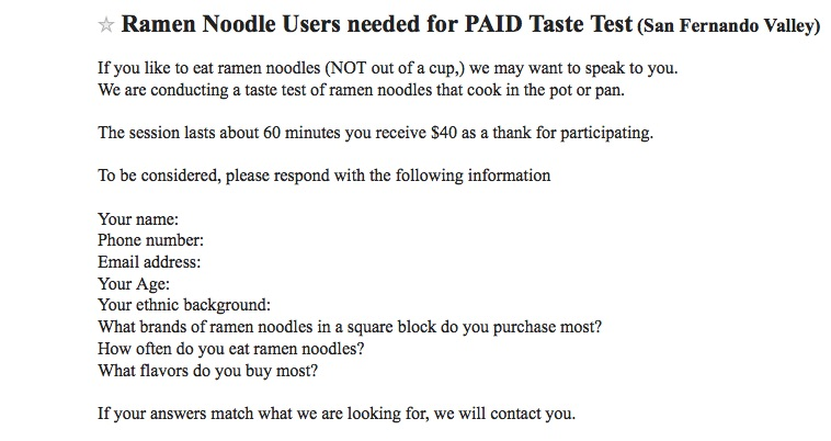 Ramen tester ad from Craigslist Los Angeles