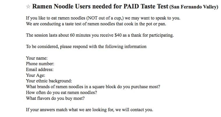 Ramen tester ad from Craigslist Los Angeles