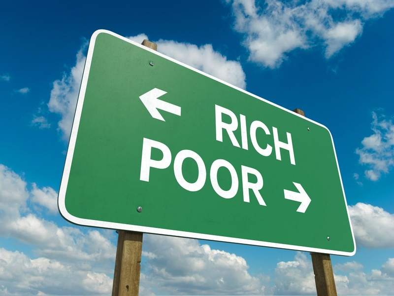 road sign displaying 'Rish and Poor'