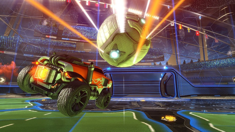 A car bashing into a ball in a futuristic sports league.