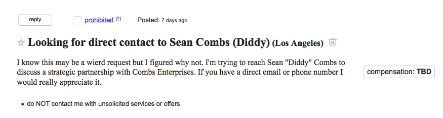 sean combs ad from craigslist los angeles