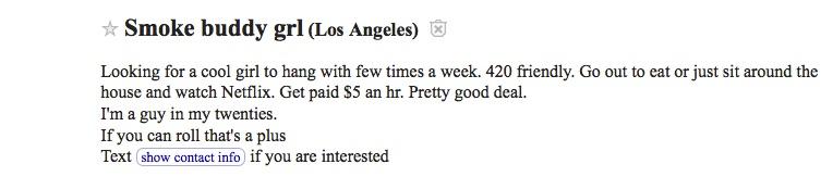 Smoke buddy ad from Craigslist Los Angeles