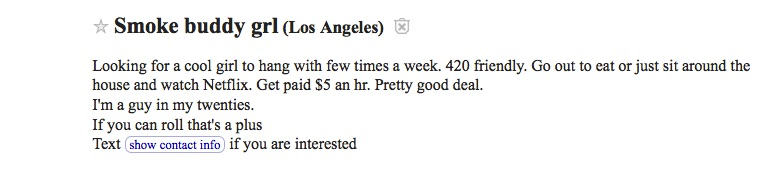 Smoke buddy ad from Craigslist Los Angeles