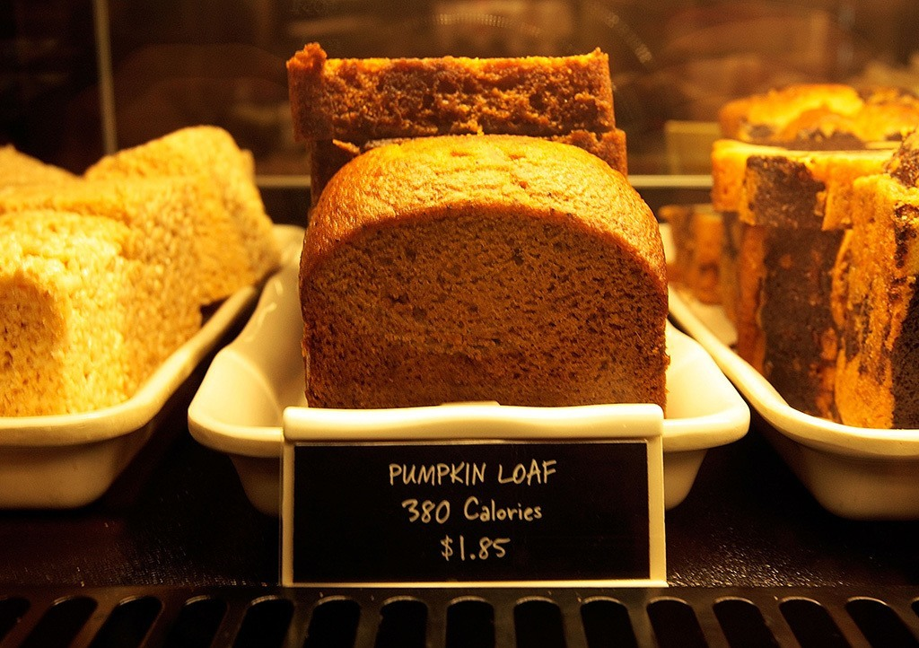 selectin of pastries with calorie counts at Starbucks