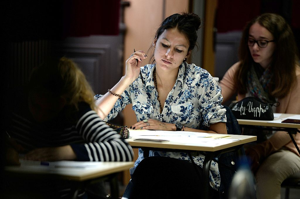 student taking a test