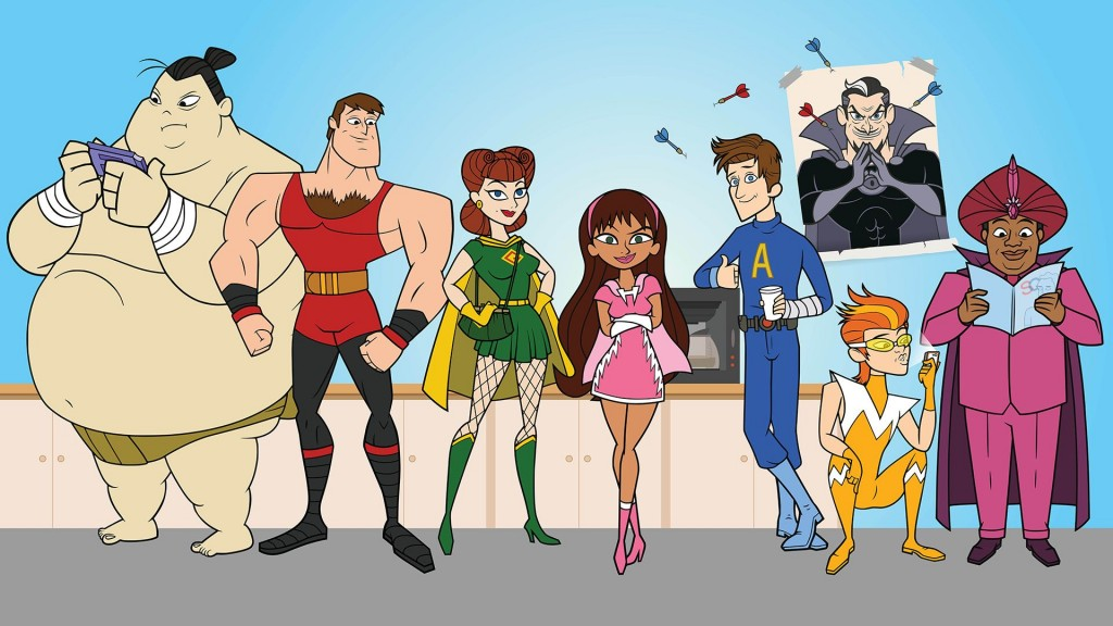 The animated cast of The Awesomes stand in front of a poster of a villain with darts thrown in it