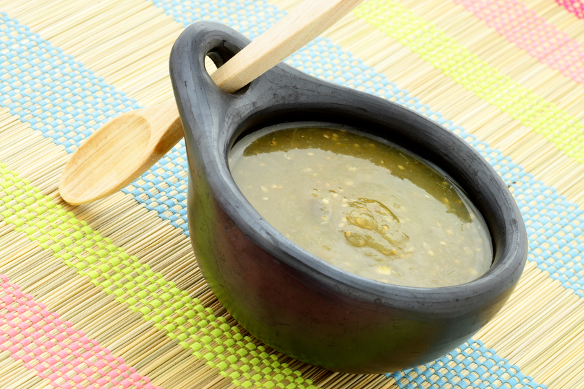 tomatillo sauce in a Colombian bowl