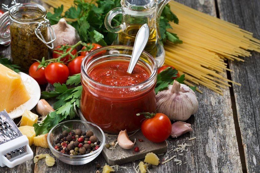 tomato sauce in a glass jar