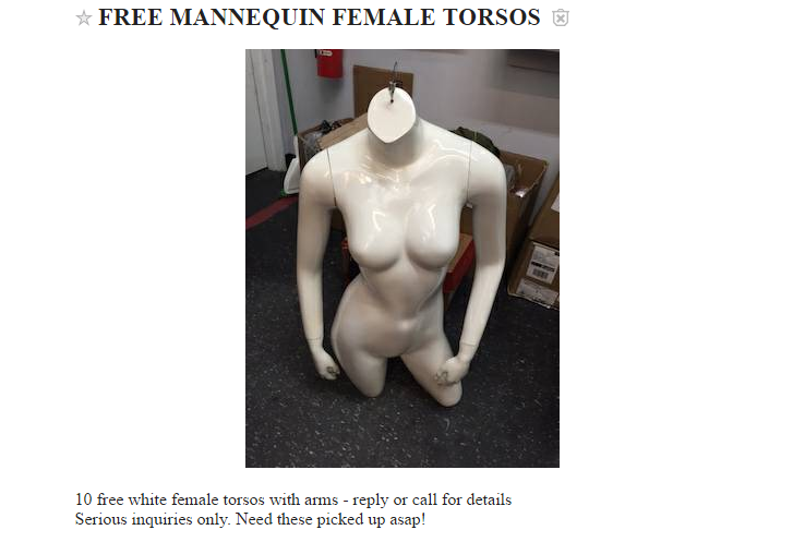 Mannequin torsos available for pickup