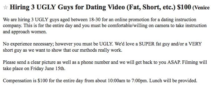 Ugly guys needed ad from Craigslist Los Angeles