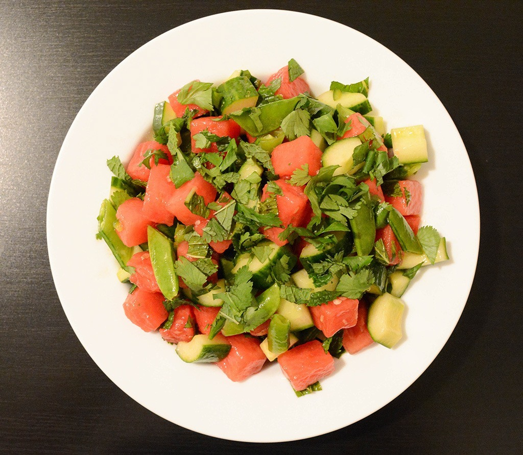 overhead shot of spicy watermelon-cucumber salad