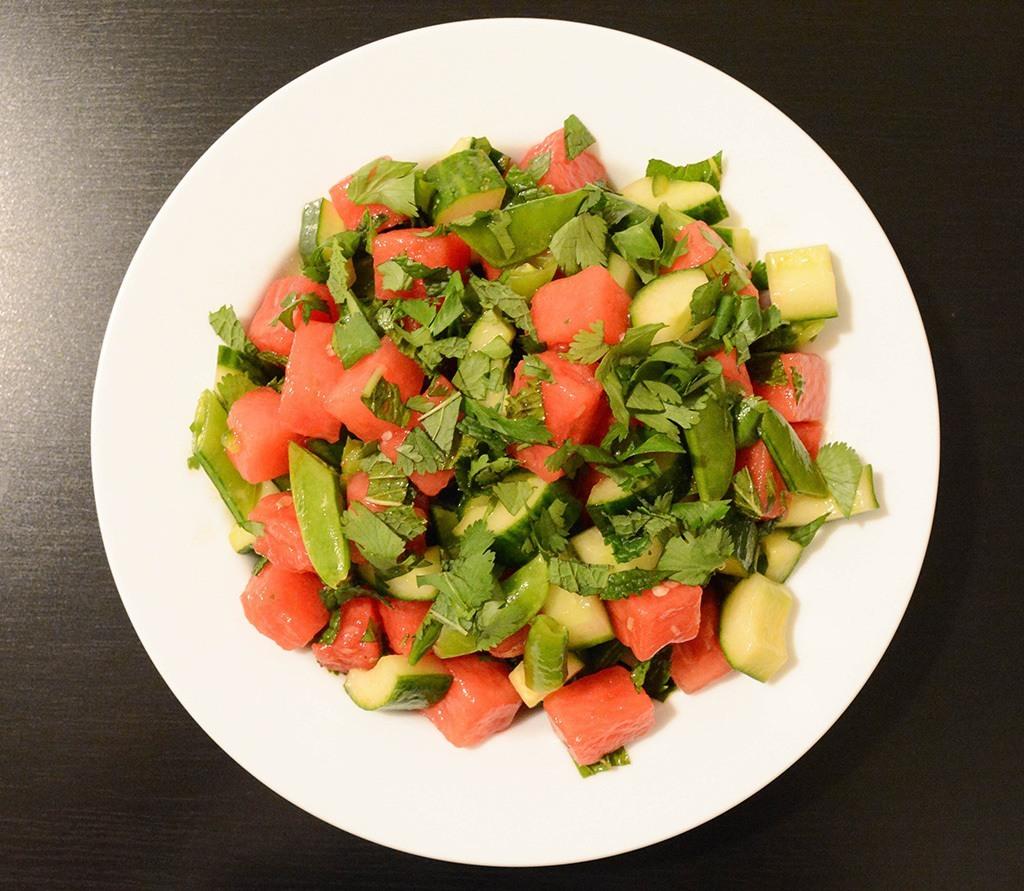 overhead shot of spicy watermelon-cucumber salad
