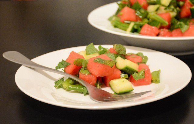 individual portion of spicy watermelon-cucumber salad on a plate