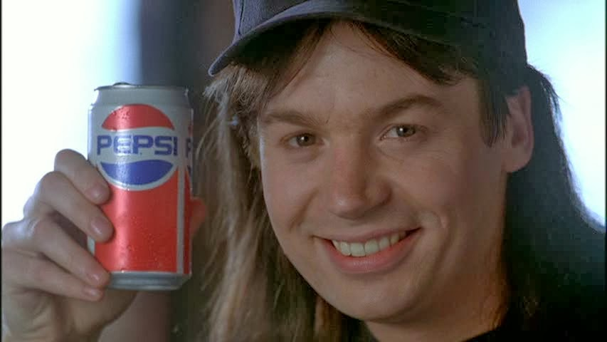 Mike Myers selling junk food in 'Wayne's World'