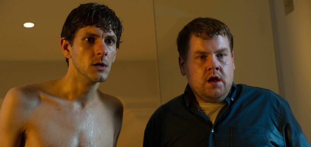 James Corden and Mathew Baynton stand next to each other and look shocked in a scene from The Wrong Mans
