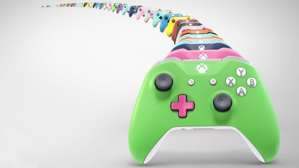 Colorful design-your-own Xbox One controllers.