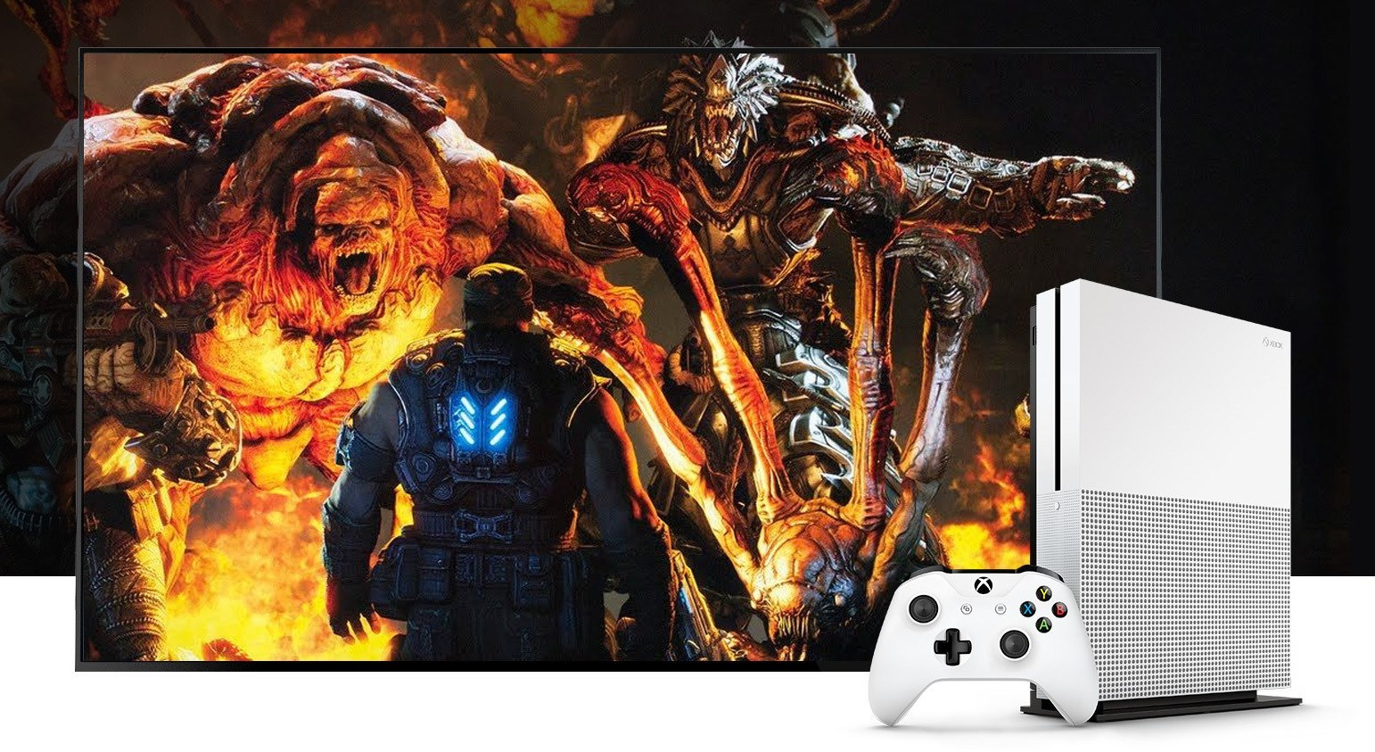 An Xbox One S, with Xbox One exclusive game Gears of War 4.