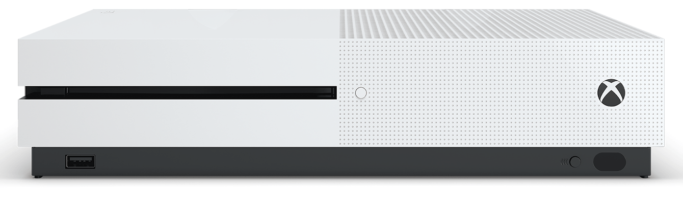 A closeup of an Xbox One S.