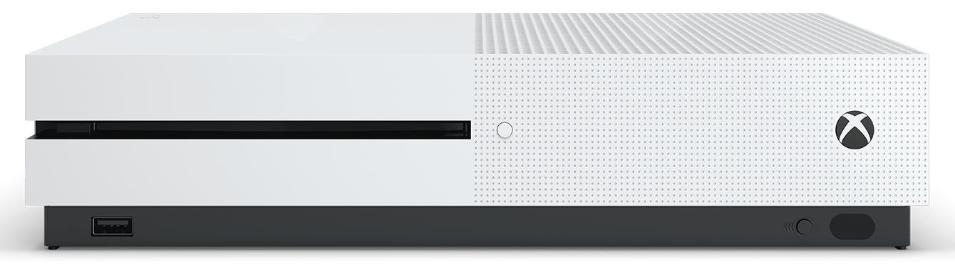A closeup of an Xbox One S.