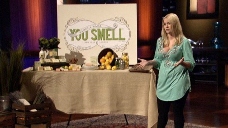 Megan Cummins pitching on shark tank