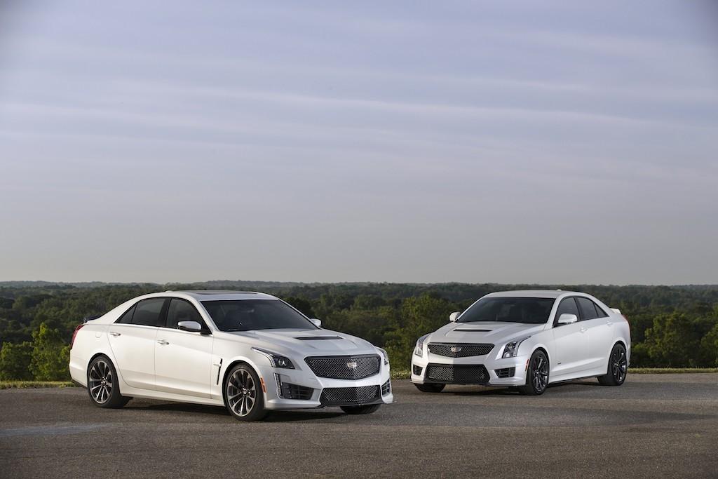 The 2017 Cadillac CTS-V parks next to its smaller sibling, the ATS-V.  