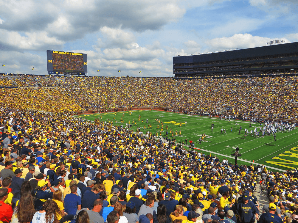 Ann Arbor is home of the University of Michigan and its passionate football legacy, making it a major scene of college sports.Ken Lund/Flickr