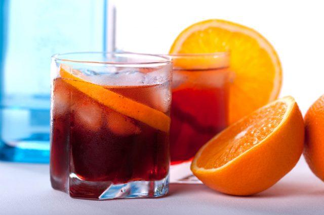 Negroni cocktail with orange