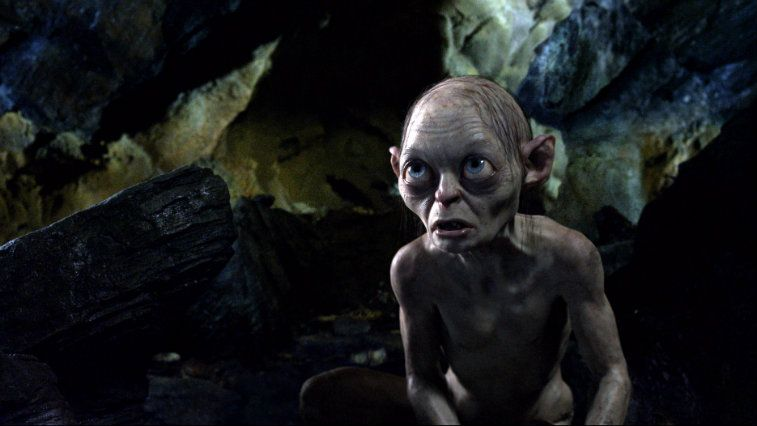 Gollum is in a cave looking up in The Hobbit: An Unexpected Journey