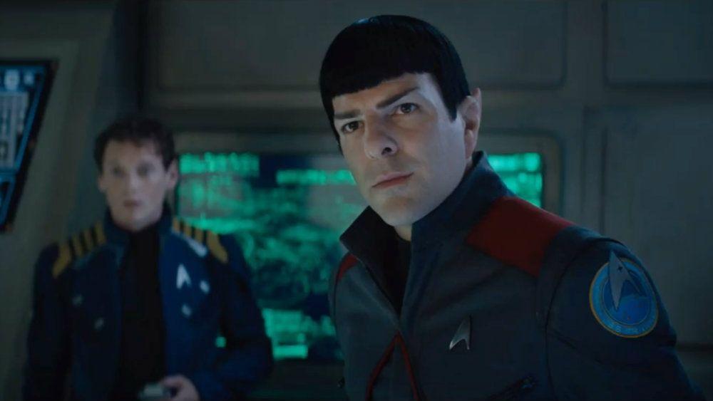 Anton Yelchin and Zachary Quinto in Star Trek Beyond