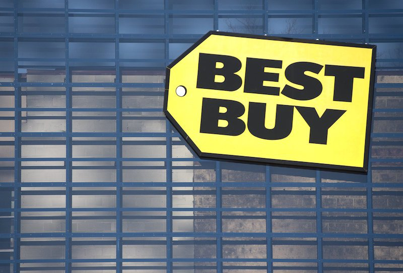 A Best Buy sign outside a store location in Woodbridge, Virginia, January 5, 2016.