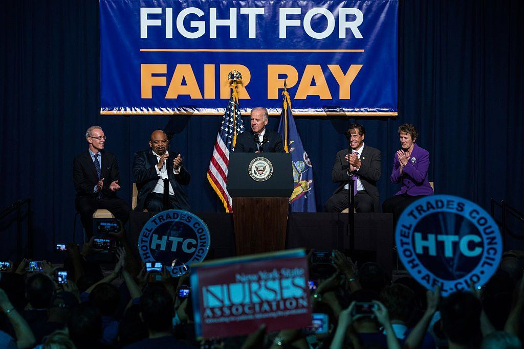 Joe Biden and fair pay rally for higher wages