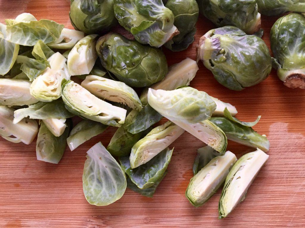 Brussels sprouts on a cutting board