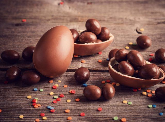 chocolate egg shell filled with a toy