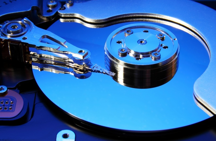 opened hard disk drive