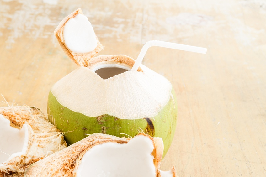 Coconut Water Drink with straw