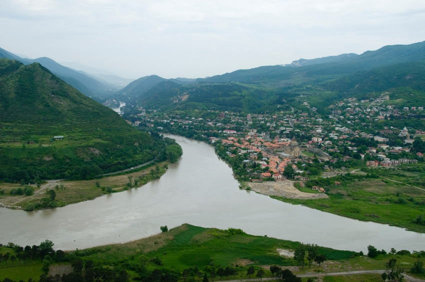 Confluence of two rivers in a valley