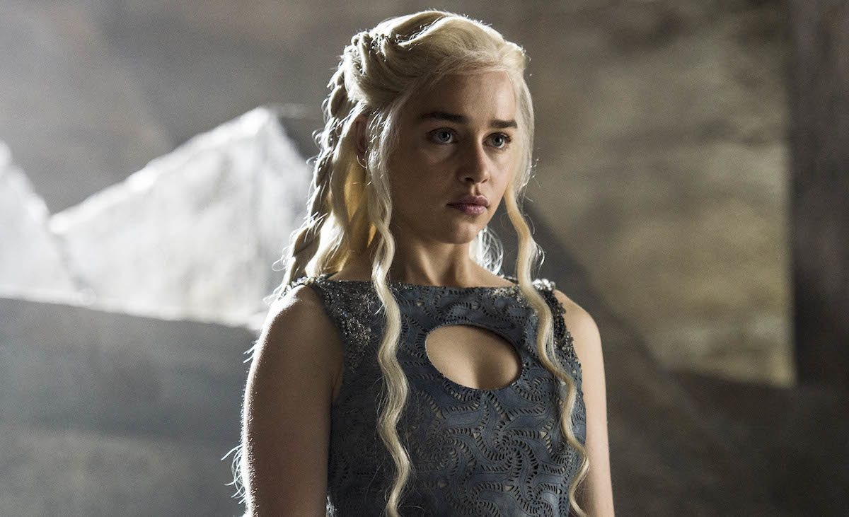 Emilia Clarke's Daenerys stares ahead in a scene from Game of Thrones