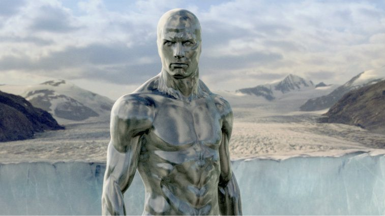 Doug Jones as the Silver Surfer standing in front of the sky in 'Fantastic Four: Rise of the Silver Surfer'