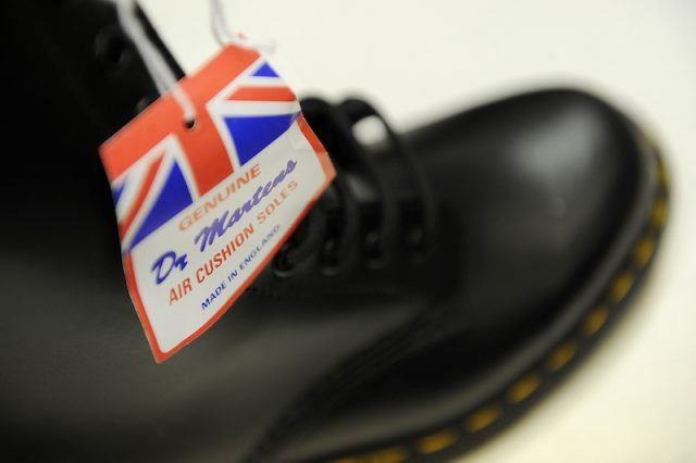 Dr Martens boots are pictured in the Dr Martens factory in Wellingborough, Northamptonshire, in central England, on March 18, 2010. What do British 1980s groups Madness and the Cure have in common with current teen heart-throb actor Robert Pattinson, Pope John Paul II and the Dalai Lama? Believe it or not, Dr. Martens' boots and shoes. AFP PHOTO/BEN STANSALL (Photo credit should read BEN STANSALL/AFP/Getty Images)